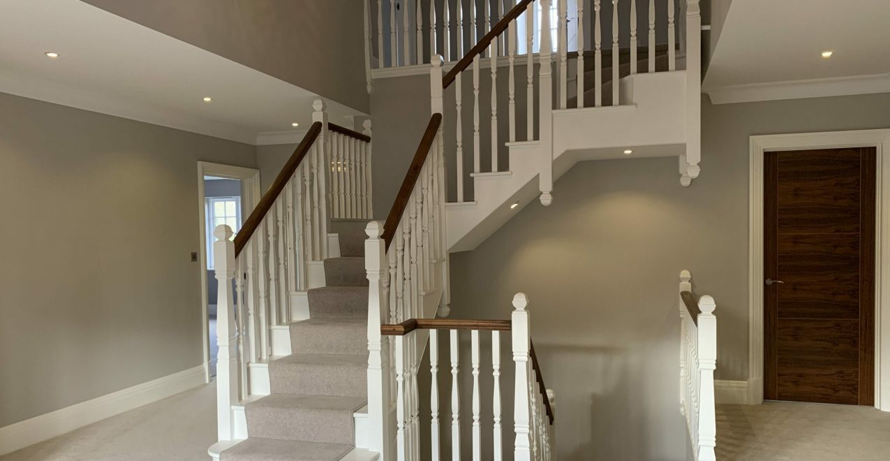PaintTech Decorators new build chislehurst developer spray finish staircase hallway